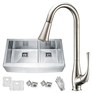 Anzzi KAZ33204AS-042 Elysian Farmhouse 33 in. 60/40 Double Bowl Kitchen Sink with Faucet in Brushed Nickel