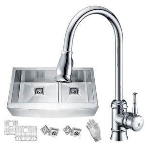 Anzzi KAZ33204AS-044 Elysian Farmhouse 33 in. 60/40 Double Bowl Kitchen Sink with Faucet in Polished Chrome