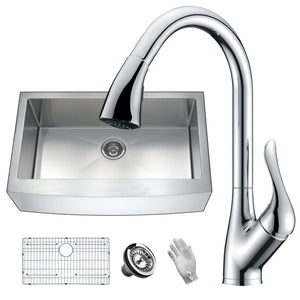 Anzzi KAZ36201A-031 Elysian Farmhouse 36 in. Single Bowl Kitchen Sink with Faucet in Polished Chrome