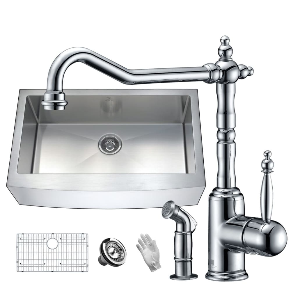 Anzzi KAZ36201A-037 Elysian Farmhouse 36 in. Single Bowl Kitchen Sink with Faucet in Polished Chrome