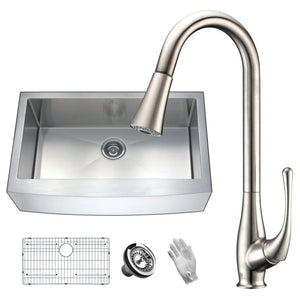 Anzzi KAZ36201A-042 Elysian Farmhouse 36 in. Single Bowl Kitchen Sink with Faucet in Brushed Nickel