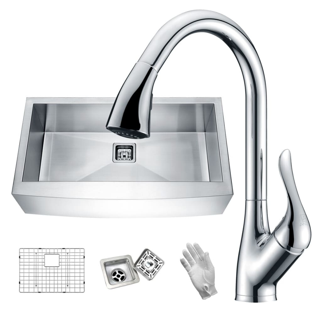 Anzzi KAZ36201AS-031 Elysian Farmhouse 36 in. Single Bowl Kitchen Sink with Faucet in Polished Chrome