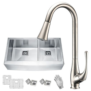 Anzzi KAZ36203AS-042 Elysian Farmhouse 36 in. 60/40 Double Bowl Kitchen Sink with Faucet in Brushed Nickel