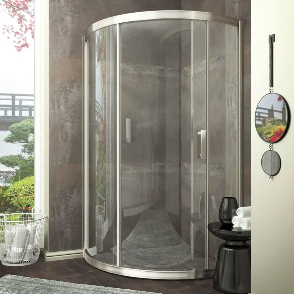 Anzzi SD-AZ01-01BN Baron Series 39 in. x 74.75 in. Framed Sliding Shower Door in Brushed Nickel