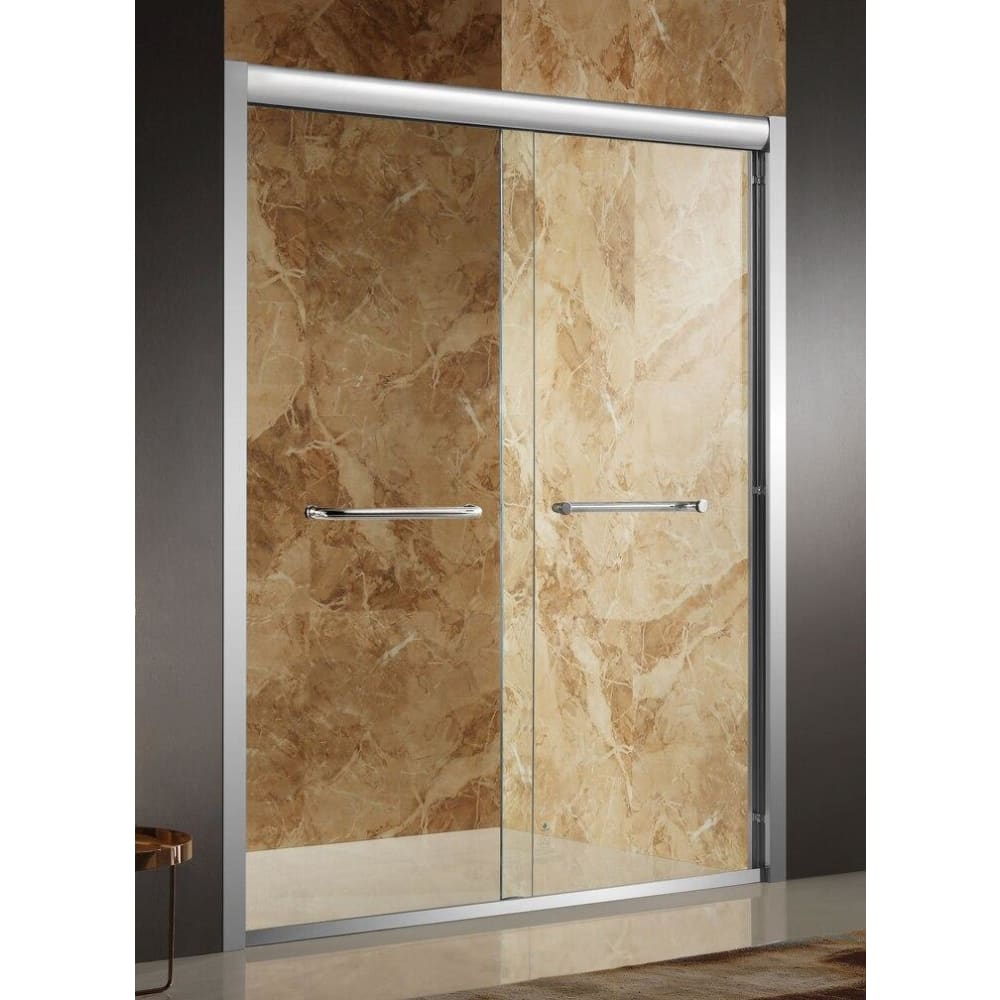 Anzzi SD-AZ01BBH-R Pharaoh 48 in. x 72 in. Framed Sliding Shower Door in Brushed Finish with Handle