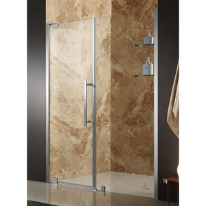 Anzzi SD-AZ04BBH-L Duke 48 in. x 72 in. Semi-Frameless Pivot Shower Door in Brushed Finish with Handle