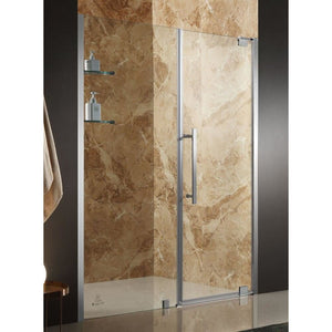 Anzzi SD-AZ04BBH-R Duke 48 in. x 72 in. Semi-Frameless Pivot Shower Door in Brushed Finish with Handle