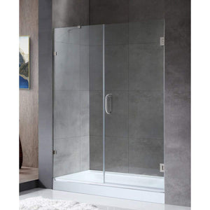 Anzzi SD-AZ07-01BN Consort Series 58.5 in. by 72 in. Frameless Hinged Alcove Shower Door in Brushed Nickel with Handle