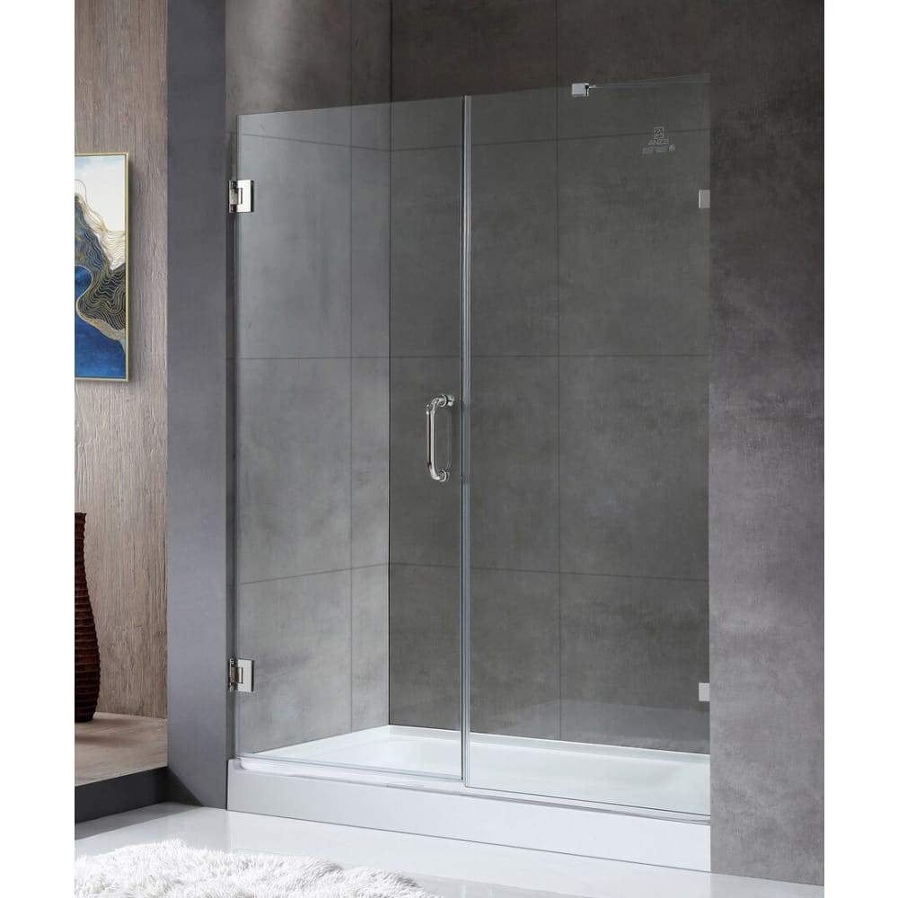 Anzzi SD-AZ07-01CH Consort Series 58.5 in. by 72 in. Frameless Hinged Alcove Shower Door in Polished Chrome with Handle