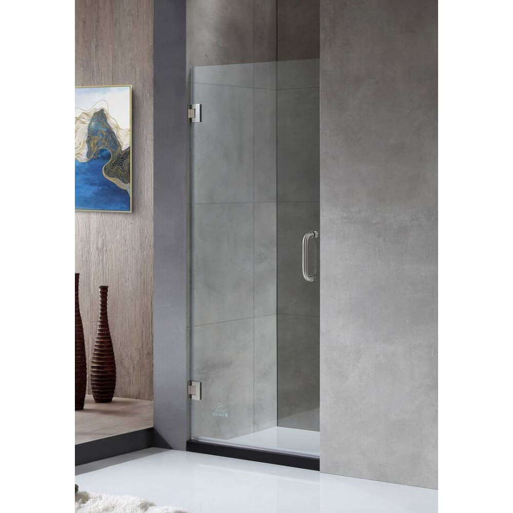 Anzzi SD-AZ09-01BN Fellow Series 24 in. by 72 in. Frameless Hinged shower door in Brushed Nickel with Handle