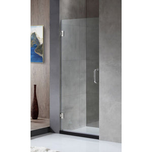 Anzzi SD-AZ09-01CH Fellow Series 24 in. by 72 in. Frameless Hinged Shower Door in Chrome with Handle