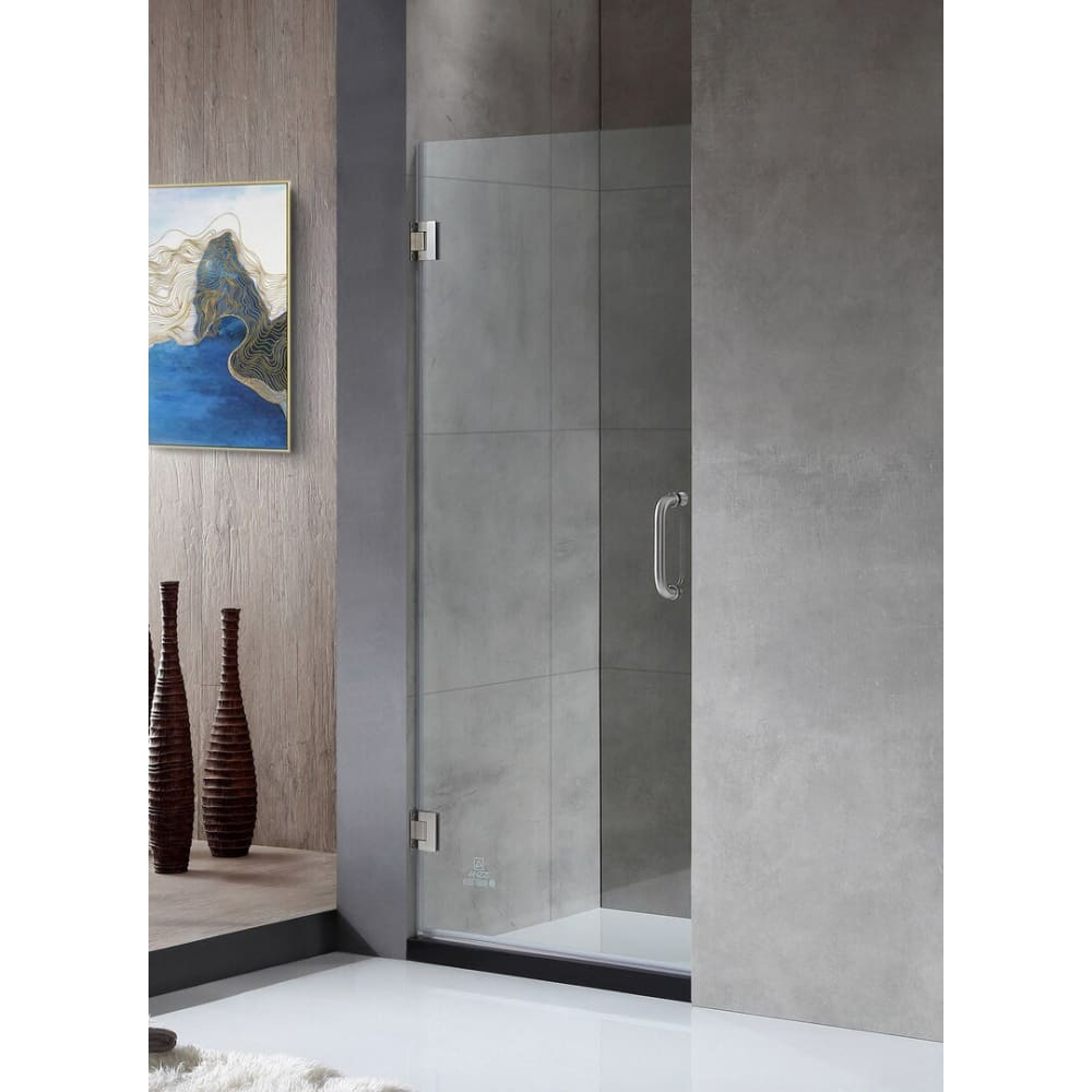 Anzzi SD-AZ09-02BN Fellow Series 30 in. by 72 in. Frameless Hinged Shower Door in Brushed Nickel with Handle
