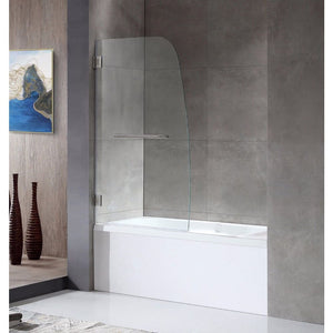 Anzzi SD-AZ10-01BN Grand Series 34 in. by 58 in. Frameless Hinged Tub Door in Brushed Nickel