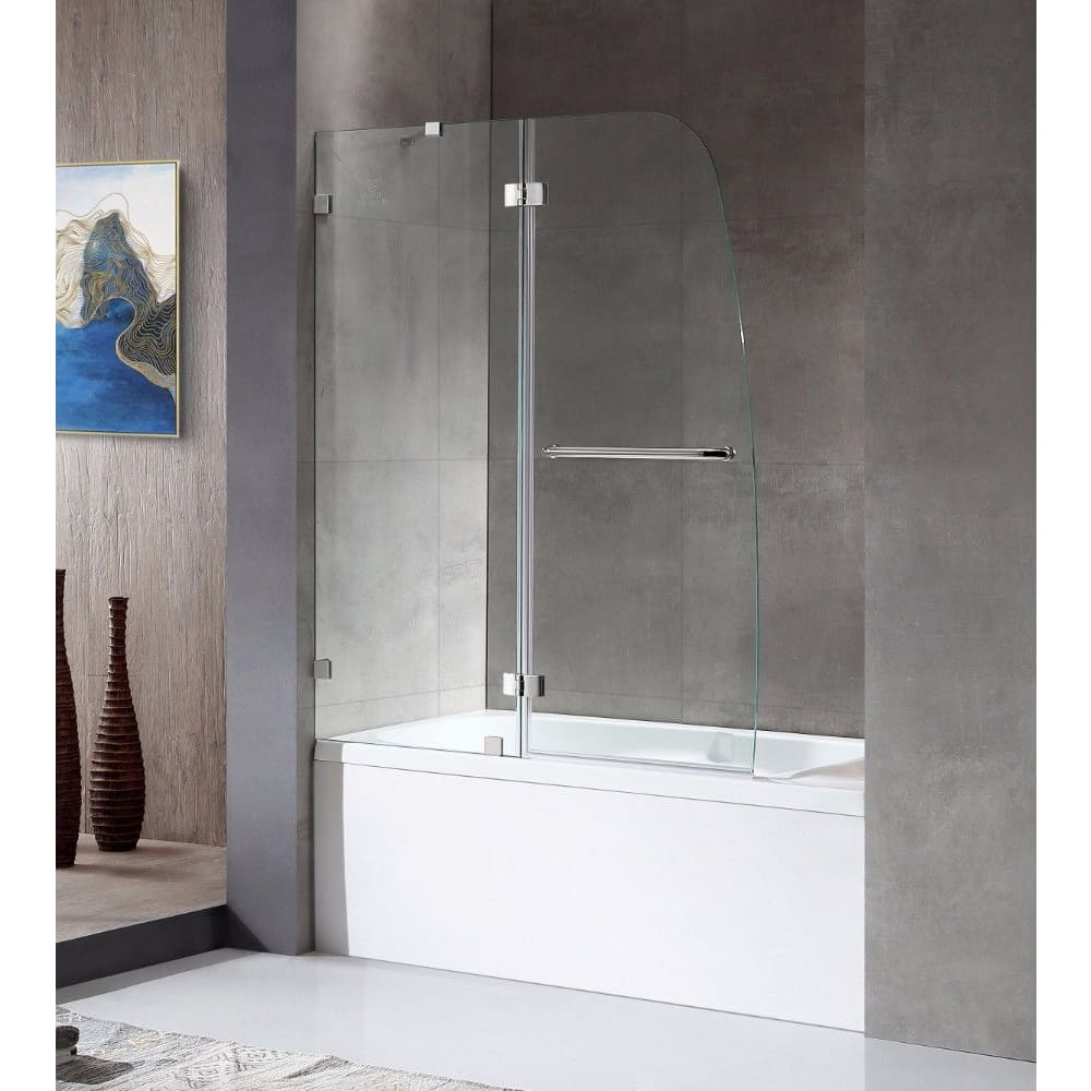 Anzzi SD-AZ11-01CH Herald Series 48 in. by 58 in. Frameless Hinged Tub Door in Chrome