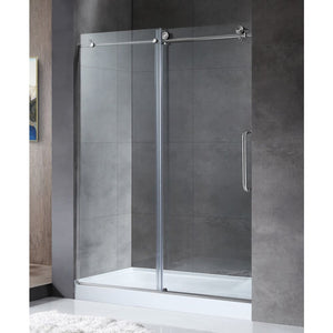 Anzzi SD-AZ13-01BN Madam Series 48 in. by 76 in. Frameless Sliding Shower Door in Brushed Nickel with Handle