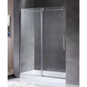 Anzzi SD-AZ13-02BN Madam Series 60 in. by 76 in. Frameless Sliding Shower Door in Brushed Nickel with Handle