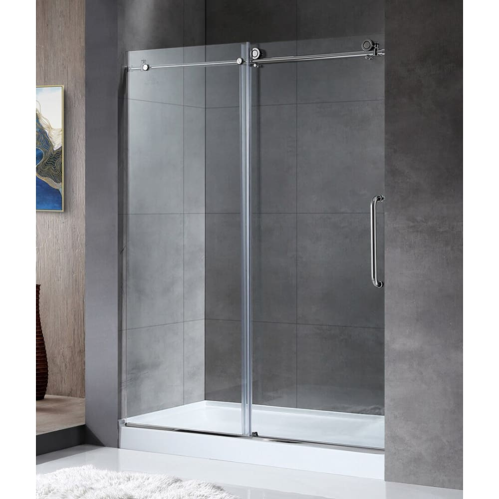 Anzzi SD-AZ13-02CH Madam Series 60 in. by 76 in. Frameless Sliding Shower Door in Chrome with Handle