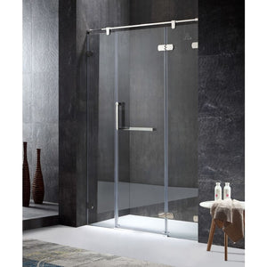 Anzzi SD-AZ35CH-R Emperor Series Right Side 55.11 in. x 78.74 in. Semi-Frameless Hinged Shower Door in Chrome with Handle