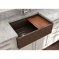 "Bocchi 30"" Fireclay Farmhouse Sink Apron Kitchen Sink Single Bowl with Step Rimp , Matte Brown , 1344-025-0120"