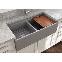 "Bocchi 36"" Fireclay Farmhouse Sink Apron Kitchen Sink Double Bowl with Step Rimp , Matte Gray , 1348-006-0120"