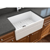 "Bocchi 27"" Fireclay Farmhouse Sink Apron Kitchen Sink Single Bowl , Matte White , 1357-002-0120"