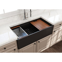 "Bocchi 36"" Fireclay Farmhouse Sink Apron Kitchen Sink Single Bowl , Matte Black, 1505-004-0120"