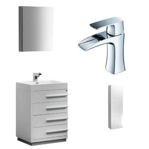 Vanities Fresca FVN8024WH-FFT3071CH-FST8090WH Livello 24