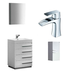 Vanities Fresca FVN8024WH-FFT3071CH-ST8091WH Livello 24