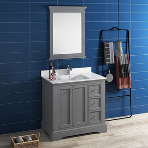 Vanities Fresca FVN2436GRV-FFT1030BN Windsor 36 Gray