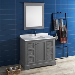 Vanities Fresca FVN2440GRV-FFT1030BN Windsor 40 Gray