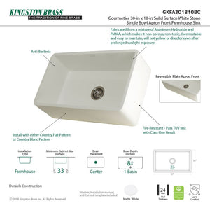 Farmhouse Sink Kingston Brass GKFA301810BC Gourmetier White