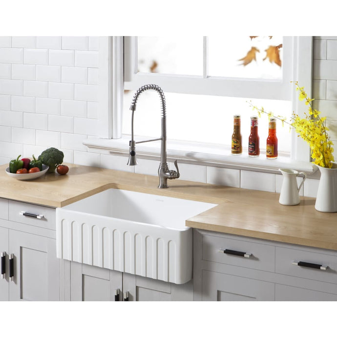 Farmhouse Sink Kingston Brass GKFA301810CD Gourmetier White