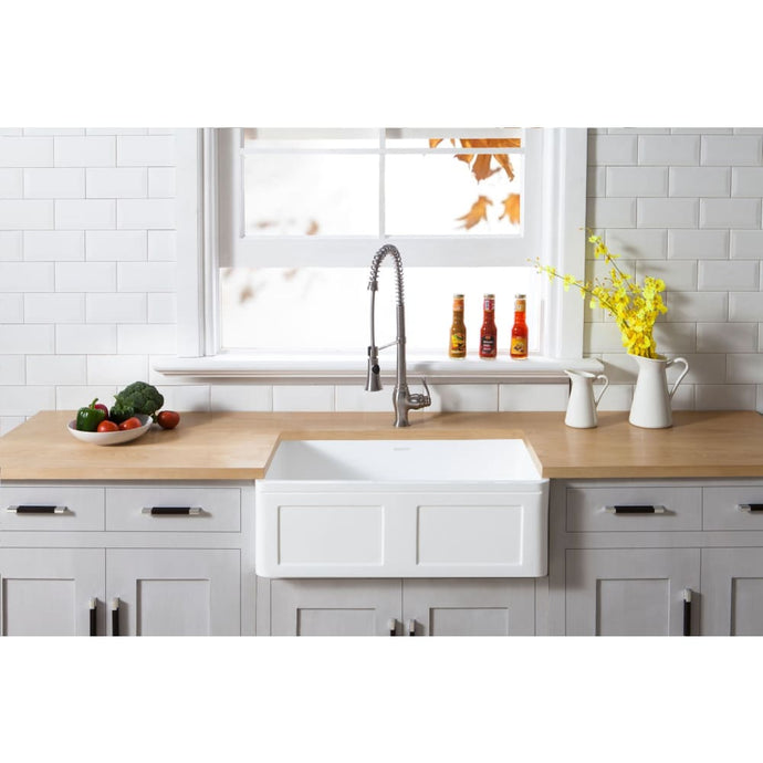 Farmhouse Sink Kingston Brass GKFA301810DS Gourmetier White