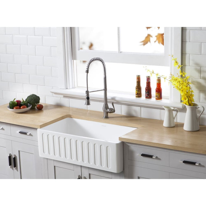 Farmhouse Sink Kingston Brass GKFA301810RM Gourmetier White