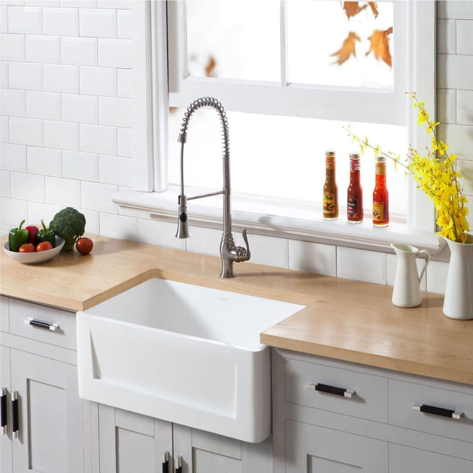 Farmhouse Sink Kingston Brass GKFA301810SQ Gourmetier White