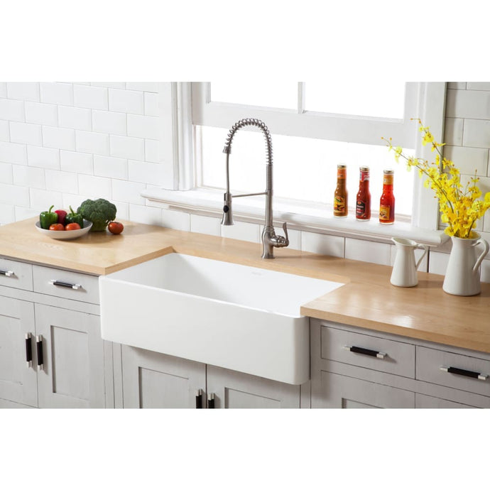 Farmhouse Sink Kingston Brass GKFA331810BC Gourmetier White