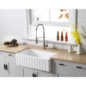 Farmhouse Sink Kingston Brass GKFA331810CD Gourmetier White