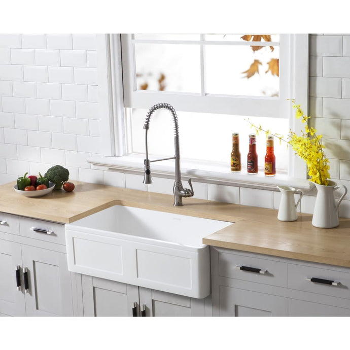 Farmhouse Sink Kingston Brass GKFA331810DS Gourmetier White