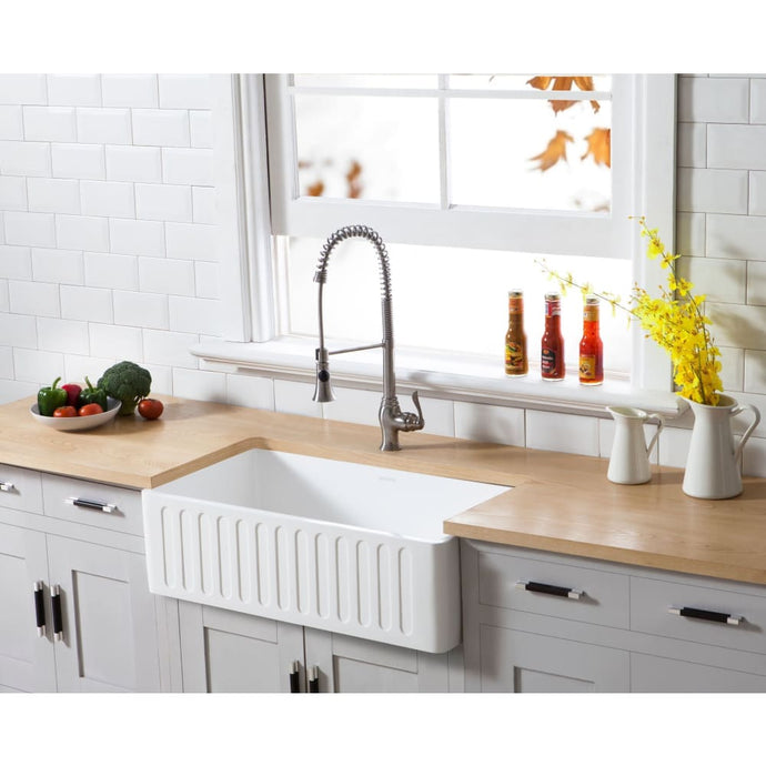 Farmhouse Sink Kingston Brass GKFA331810RM Gourmetier White