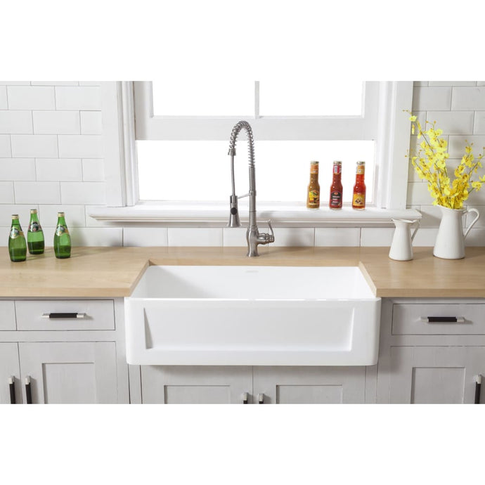 Farmhouse Sink Kingston Brass GKFA331810SQ Gourmetier White