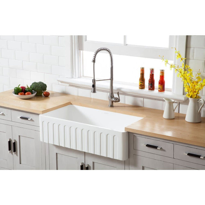 Farmhouse Sink Kingston Brass GKFA361810CD Gourmetier White