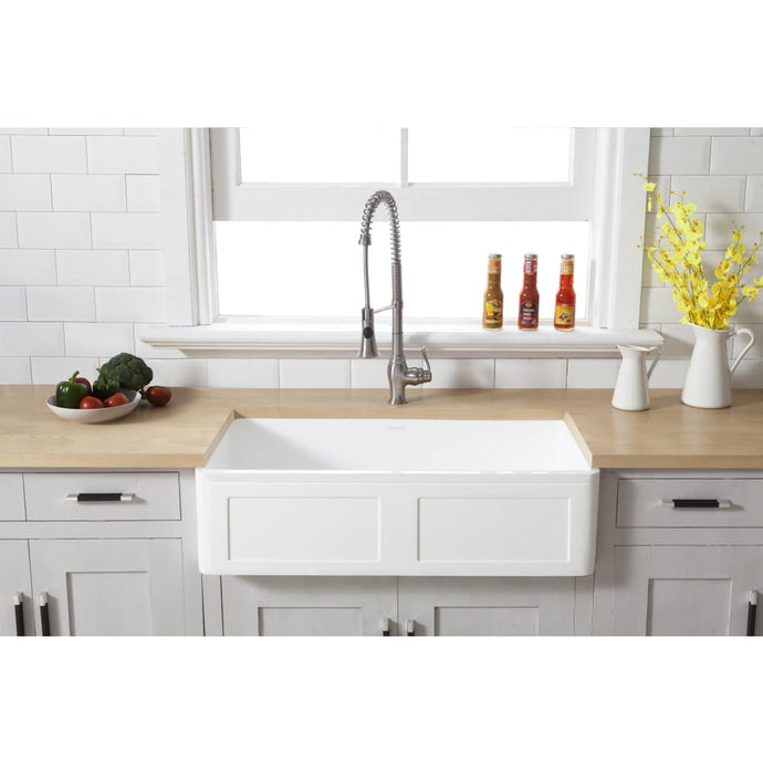 Farmhouse Sink Kingston Brass GKFA361810DS Gourmetier White