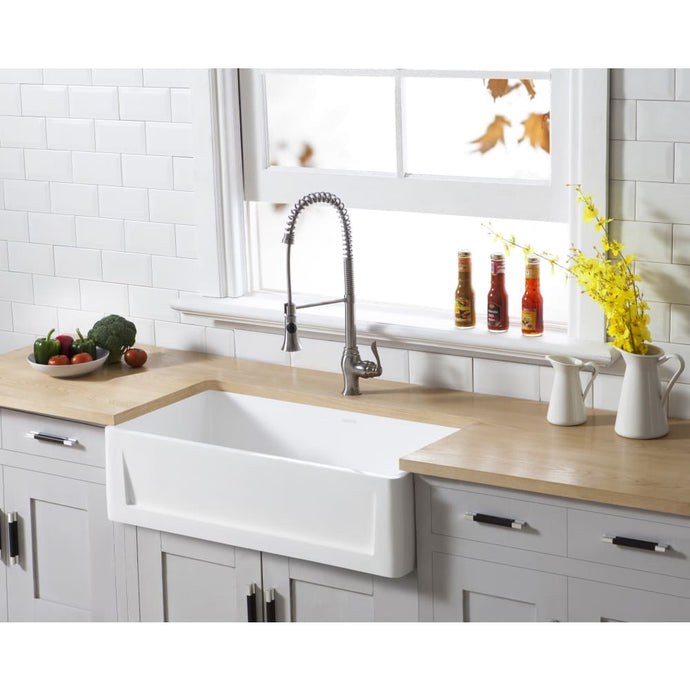 Farmhouse Sink Kingston Brass GKFA361810SQ Gourmetier White