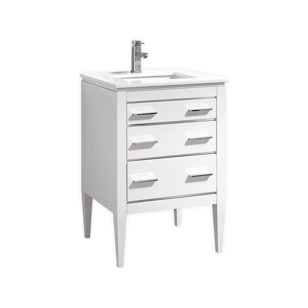 Vanity KubeBath E24-GW Eiffel 24 High Gloss White Single