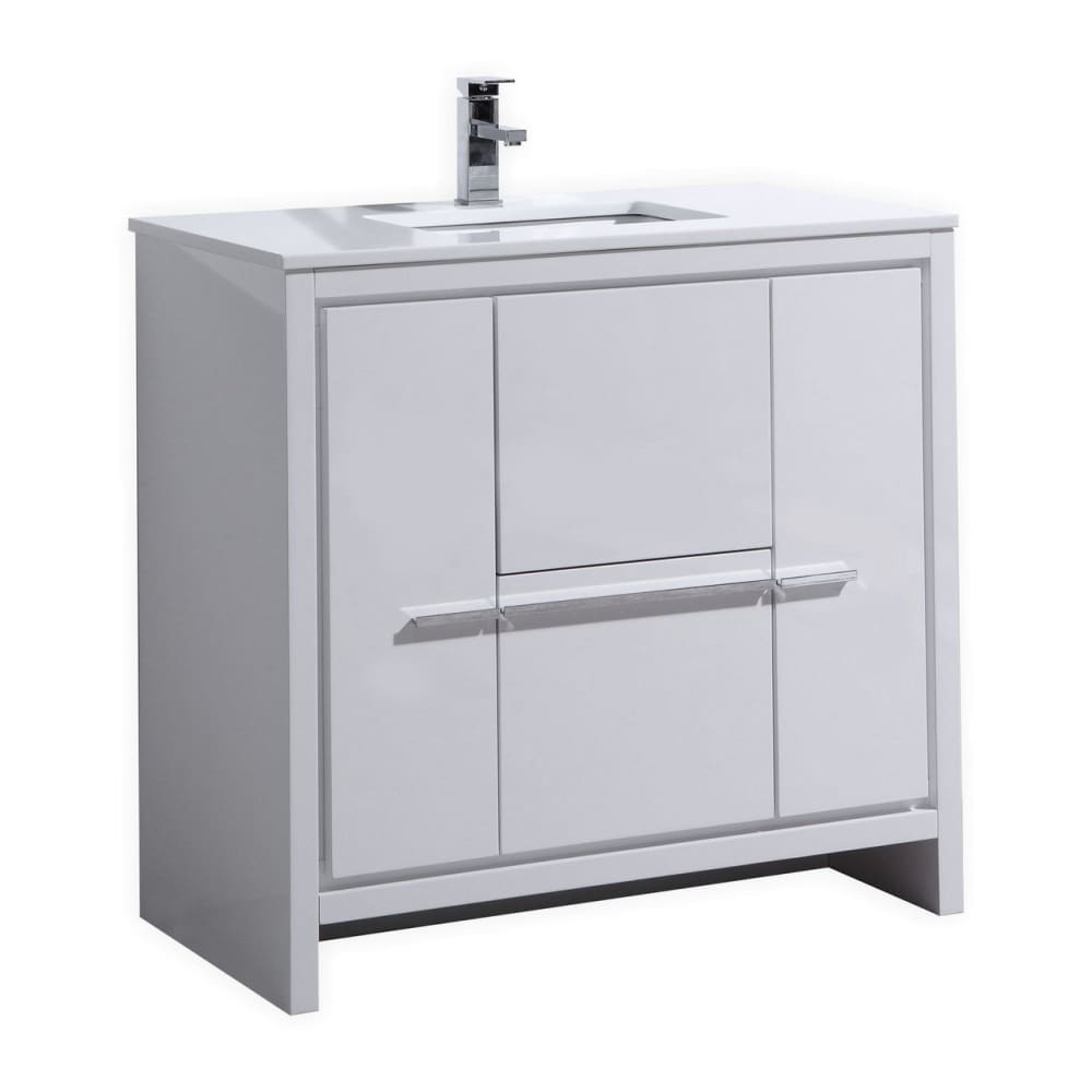 Vanity KubeBath AD636GW Dolce 36 Modern Bathroom Single with