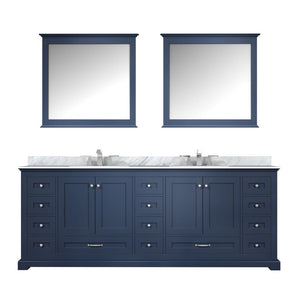 "Lexora Dukes 84"" Navy Blue Double Vanity, White Carrara Marble Top, White Square Sinks and 34"" Mirrors"