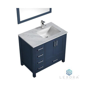 "Lexora Jacques 36"" Navy Blue Single Vanity, White Carrara Marble Top, White Square Sink and 34"" Mirror - Right Version"