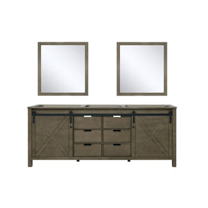 "Lexora Marsyas 80"" Rustic Brown Double Vanity, no Top and 30"" Mirrors"