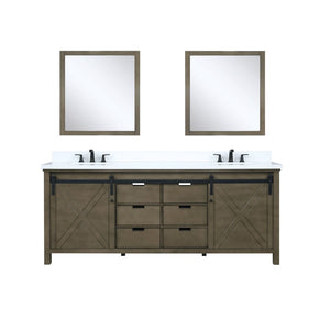 "Lexora Marsyas 80"" Rustic Brown Double Vanity, White Quartz Top, White Square Sinks and 30"" Mirrors"