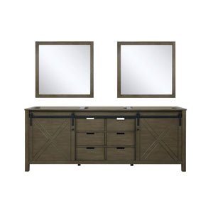 "Lexora Marsyas 84"" Rustic Brown Double Vanity, no Top and 34"" Mirrors"